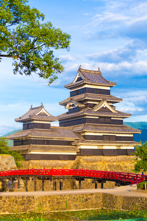 Close telephoto view of the Matsumoto Jo Castle revealing details of the ancient keep on a sunny day in Nagano Prefecture, Japan