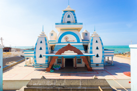 centered: Kanyakumari, India - February 22, 2015: Entrance to white Gandhi Memorial Mandapam on the ocean waterfront at the southernmost tip of subcontinent on a sunny day Editorial