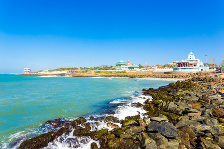 Landscape view of Kamarajar and Gandhi Memorial Mandapam on the coastline of Kanyakumari on a sunny day in Tamil Nadu, India. Horizontal Stock Photo