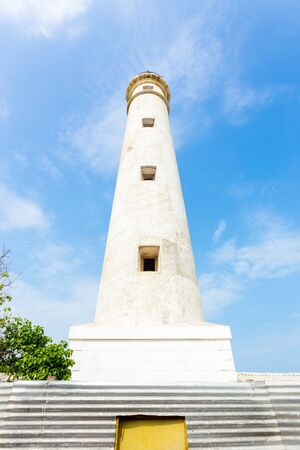 Low angle view of military occupied Point Pedro Lighthouse on the northern coast of Jaffna in Sri Lanka Stock Photo
