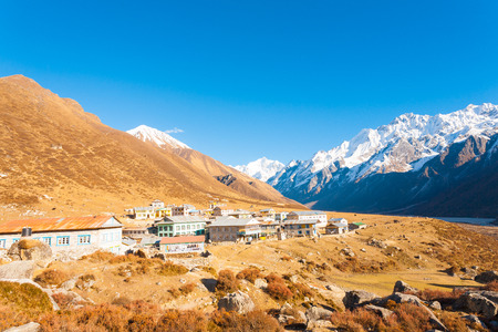 High altitude Kyanjin Gompa village sits in Langtang Valley at base of Himalayas Mountain range and snow-capped Gangchenpo Peak in background in Nepal