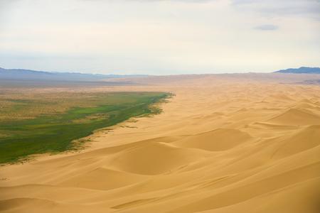 Grassy plains of the Mongolian steppe meets the edge of the Khongor Els sand dune at the Gobi Desert in Mongolia Stok Fotoğraf
