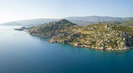 Aerial view of coast and Kalekoy Castle near Kekova, Turkey