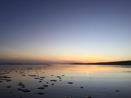 miror: Sunset beach reflection at Spesial District of Jogjakarta Indonesia