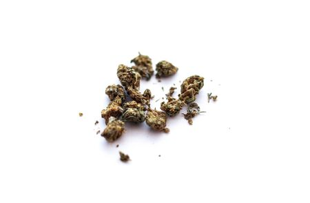 Pieces of weed on white background