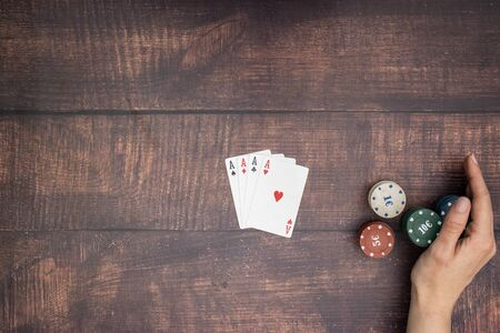 Four aces on the table in poker game Standard-Bild - 127974067
