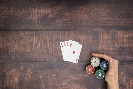 Four aces on the table in poker game Standard-Bild - 127974066