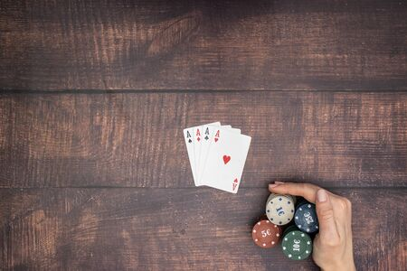 Four aces on the table in poker game Standard-Bild - 127974069