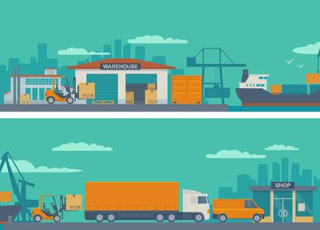 Koncepcja logistyczna płaskim banner proces produkcji z fabryki do sklepu. Magazyn, statek, ciężarówka, samochód. Szeroki panoramiczny ilustracji wektorowych dla biznesu, info grafiki, stron internetowych, prezentacji, reklamy.