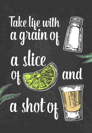 Glass tequila. salt and lime. engraved illustration. Vintage black background. For poster, web.