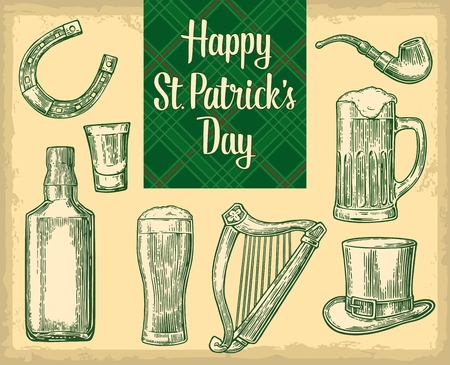 Saint Patrick's Day. Top gentleman hat, smoking pipe, bottle, bee, glass, lyre, horseshoe. vintage engraved illustration. Typographical design for card, poster, web