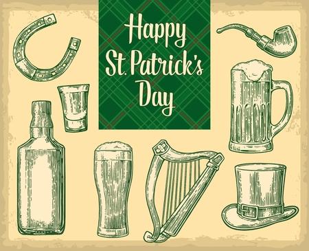 lyre: Saint Patricks Day. Top gentleman hat, smoking pipe, bottle, bee, glass, lyre, horseshoe. vintage engraved illustration. Typographical design for card, poster, web