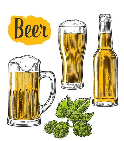 ビールのグラス、マグカップ、ボトル。 白い背景に分離されたヴィンテージの刻まれたイラスト。
