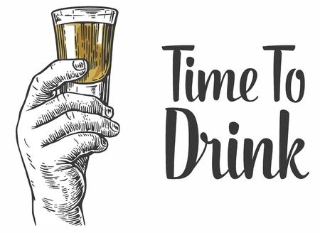 Design element.Vintage Gravur Illustration für Etikett, Plakat, Einladung zu einer Party. Zeit zu trinken. Vektorgrafik