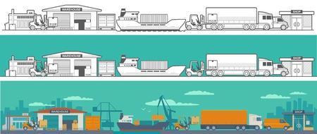 Logistic concept flat production process from factory to the shop. Wide panoramic illustration for business, infographic, web, presentations, advertising. Vetores