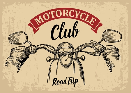 motor: engraved illustration isolated on  bright vintage background. For web, poster motorcycle  club. Road Trip.