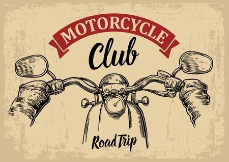 grawerowane ilustracji samodzielnie na jasnym tle archiwalne. Do sieci, plakat klubu motocyklowego. Wycieczka samochodem.