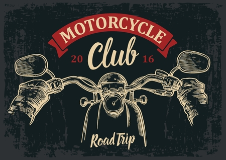 Biker driving a motorcycle rides. View over the handlebars of motorcycle. engraved illustration isolated on dark vintage background. For web, poster motorcycle club.
