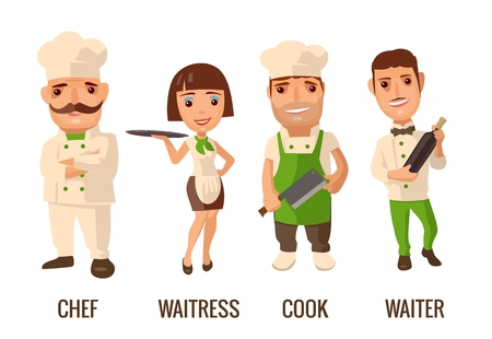 Waiter with bottle wine. Cook man with knife. Proud chef cook man with a mustache crossed his arms. Waitress with tray. flat illustration on white background.