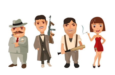 mafioso: flat illustration on white background. Collection comics icon