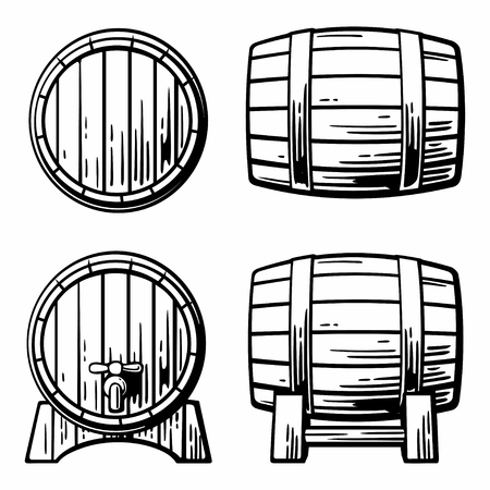 wooden barrel: Black and white vintage engraving illustration. Illustration