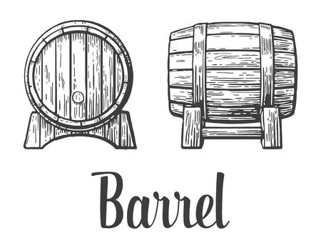 barrels: Black and white vintage engraving illustration. Illustration