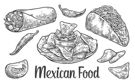tacos: vintage engraved illustration for menu, poster, web. Isolated on white background.