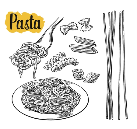 Set pasta on fork and plate. Farfalle, conchiglie, penne, fusilli, spaghetti. vintage black illustration isolated on white background.