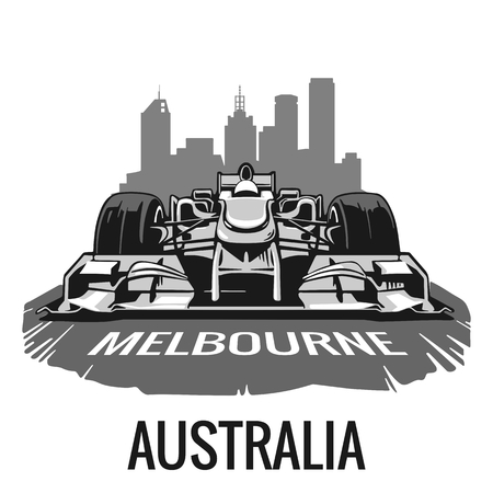 bulding: Vintage poster Grand Prix Melbourne Australia . illustration for poster, web