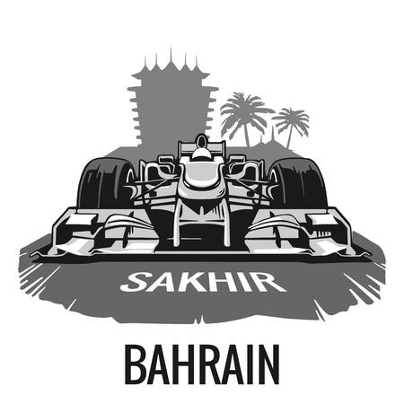 Cartel de la vendimia Gran Premio de Bahrein en Sakhir. ilustración plana para el cartel, web. Foto de archivo - 53938140