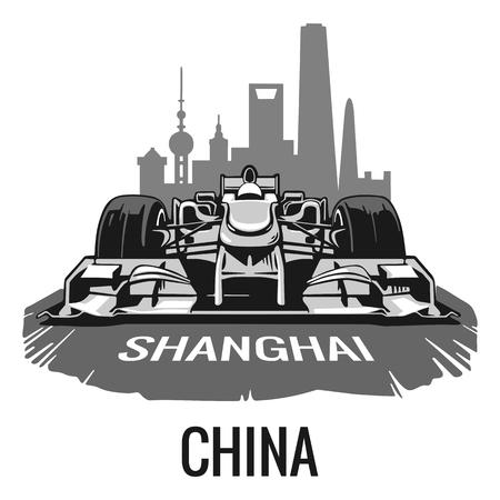shanghai china: Vintage poster Grand Prix Shanghai China . flat illustration for poster, web.
