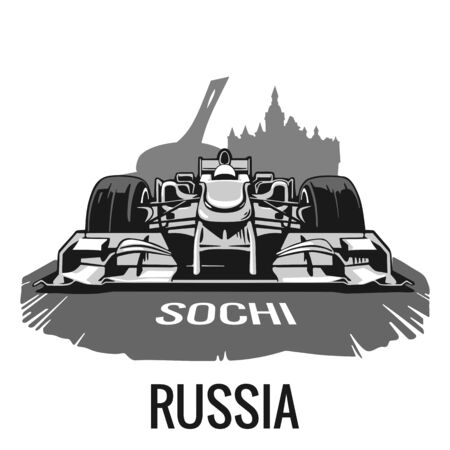 prix: Vintage poster Grand Prix Sochi Russia . illustration for poster,  web