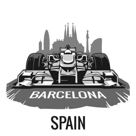 prix: Vintage poster Grand Prix Barcelona Spain . flat illustration for poster,  web.