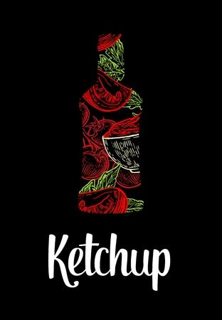 tomato slice: Ketchup bottle with tomato, slice tomato, leaf. Color  sketch on vintage black background. engraved illustration.