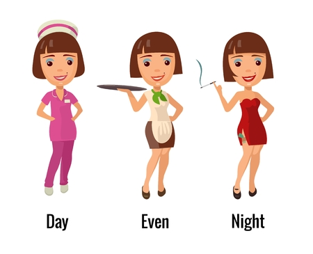 waitresses: Woman professions - doctor, waitress, dancer. Flat vector illustration. For icon, web