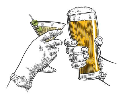 두 손을 맥주와 칵테일 한잔의 유리 clink. 손으로 그린 된 디자인 요소입니다. 빈티지 벡터 판화 웹, 포스터, 파티 초대장에 대 한 그림. 흰색 배경 일러스트