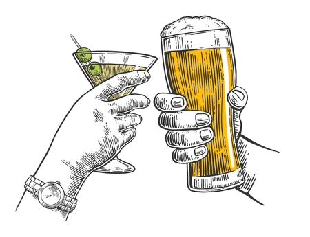 Two hands clink a glass of beer and a glass of cocktails. Hand drawn design element. Vintage vector engraving illustration for web, poster, invitation to party. Isolated on white background.