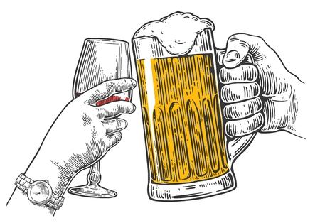 두 손 맥주 한 잔과 와인 한 잔을 땡그랑 소리. 손으로 디자인 요소를 그려. 웹, 포스터, 초대장, 빈티지 벡터 조각 그림 파티를합니다. 흰색 배경에 고 일러스트