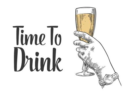 シャンパン グラスを持っている女性の手。ビンテージ ベクトル ラベル、ポスター、パーティーへの招待状のイラストを彫刻します。飲む時間。  イラスト・ベクター素材