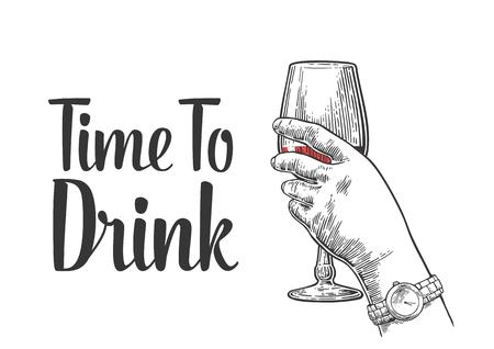 Mano femminile in possesso di un bicchiere di vino. Vintage illustrazione incisione per l'etichetta vettore, manifesto, invito a una festa. Tempo di bere.