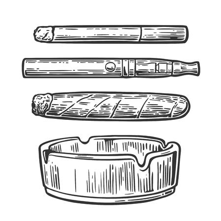 Zigarre, Zigarette, Mundstück, Aschenbecher. Gravur-Darstellung auf weißem Hintergrund.