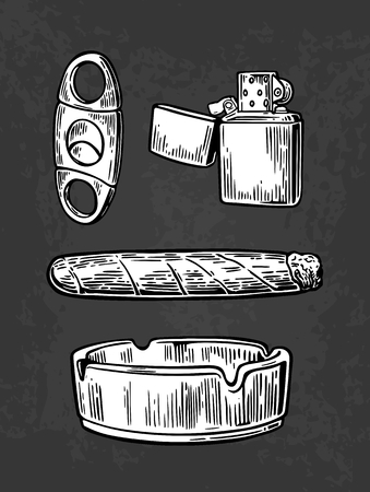 vintage cigar: Lighter, cigar, ashtray, guillotines for cigars. Vector vintage engraved black illustration isolated on dark background.