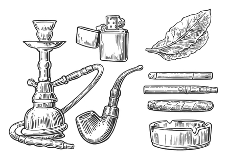 Set of vintage smoking tobacco elements. Hookah, lighter, cigarette, cigar, ashtray, pipe, leaf, mouthpiece. Vector vintage engraved black illustration isolated on white background.