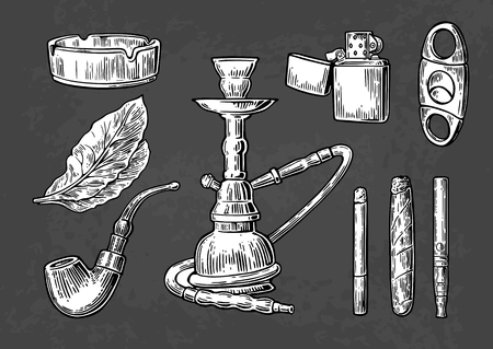 vintage cigar: Hookah, lighter, cigarette, cigar, ashtray, pipe, leaf, mouthpiece. Set of vintage smoking tobacco elements. Illustration