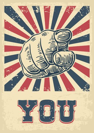 Hand pointing finger at viewer, from front.  Vector black vintage engraved illustration. I want you.