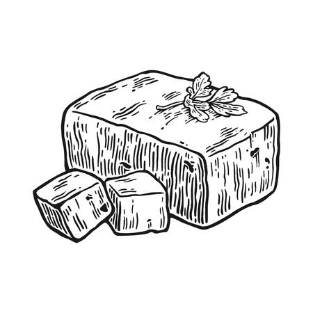 豆腐。ベクトル ヴィンテージ刻まれたイラスト白背景に分離されました。  イラスト・ベクター素材