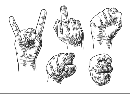 Male Hand sign. Fist, Middle finger up, pointing finger at viewer from front,  fig, Rock and Roll.  Vector vintage engraved illustration isolated on white background.