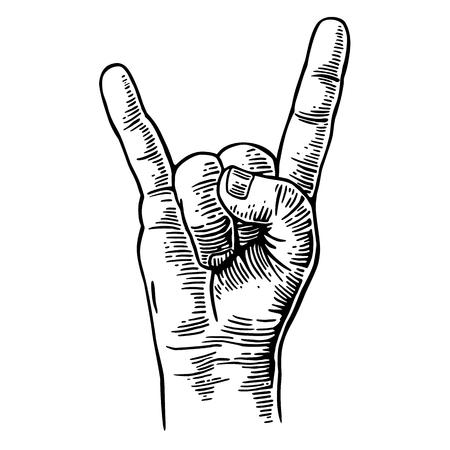 Rock and roll muestra de la mano. Vector vendimia negro grabado ilustración. Mano que da el gesto de cuernos de diablo Ilustración de vector