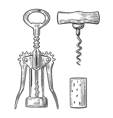 Wing corkscrew, basic corkscrew and cork. Black vintage engraved vector illustration isolated on white background. For label, poster and web. Stock Illustratie