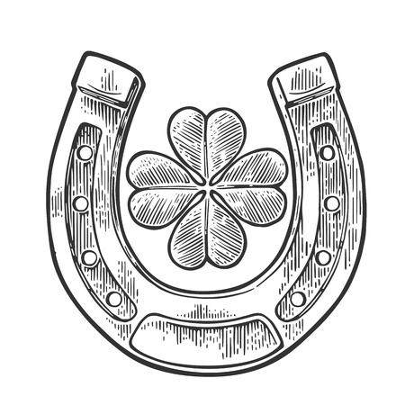 herradura: Buena suerte trébol de cuatro hojas y la herradura. ilustración de la vendimia grabado vector para la información gráfica, carteles, web. Negro sobre fondo blanco Vectores